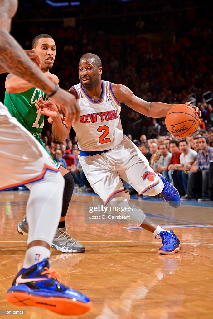 Raymond Felton #2 of the New York Knicks drives against Courtney Lee #11 of the Boston Celtics in Game One of the Eastern Conference Quarterfinals during the 2013 NBA Playoffs on April 20, 2013 at Madison Square Garden in New York City, New York.