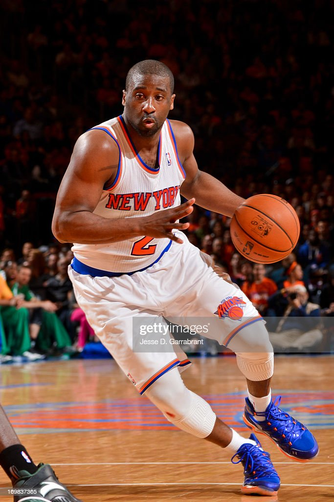 <a gi-track='captionPersonalityLinkClicked' href=/galleries/search?phrase=Raymond+Felton&family=editorial&specificpeople=209141 ng-click='$event.stopPropagation()'>Raymond Felton</a> #2 of the New York Knicks drives against the Boston Celtics in Game One of the Eastern Conference Quarterfinals during the 2013 NBA Playoffs on April 20, 2013 at Madison Square Garden in New York City, New York.