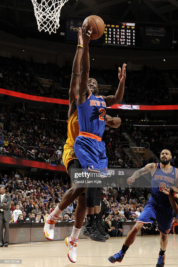 Raymond Felton #2 of the New York Knicks drives against the Cleveland Cavaliers at The Quicken Loans Arena on March 4, 2013 in Cleveland, Ohio.