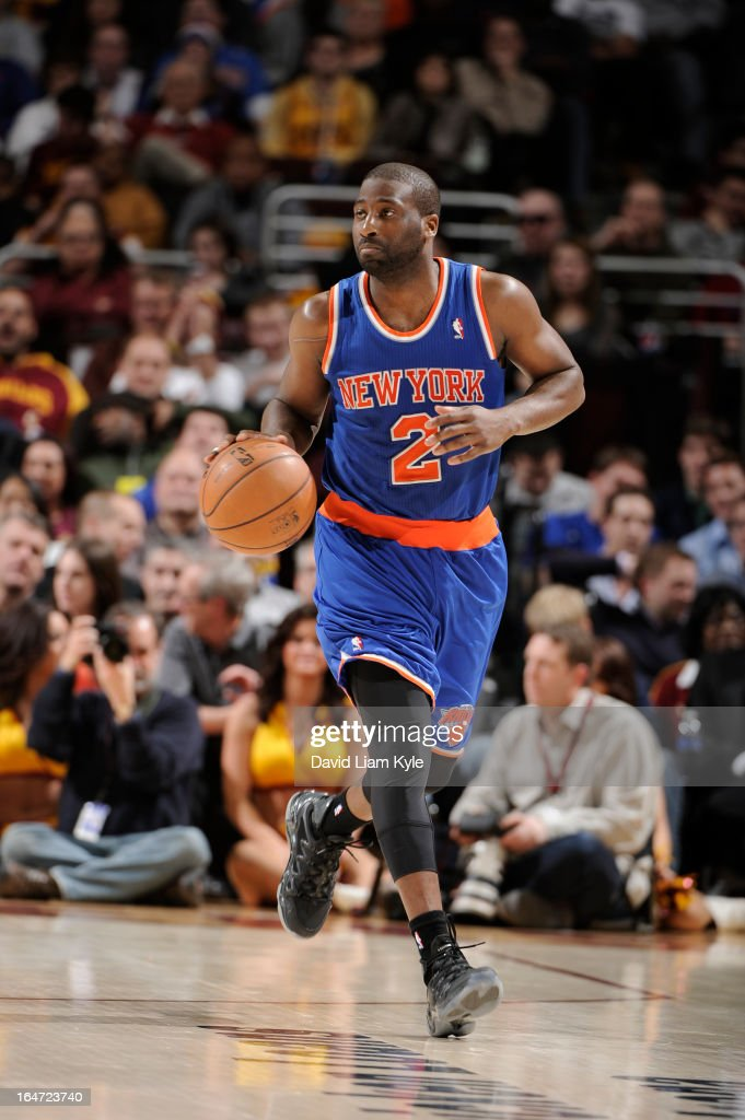 <a gi-track='captionPersonalityLinkClicked' href=/galleries/search?phrase=Raymond+Felton&family=editorial&specificpeople=209141 ng-click='$event.stopPropagation()'>Raymond Felton</a> #2 of the New York Knicks drives against the Cleveland Cavaliers at The Quicken Loans Arena on March 4, 2013 in Cleveland, Ohio.