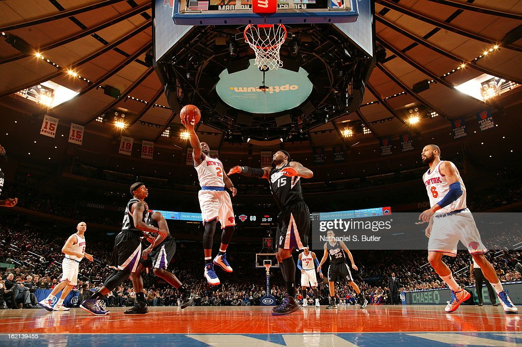Raymond Felton #2 of the New York Knicks drives to the basket against the Sacramento Kings on February 2, 2013 at Madison Square Garden in New York City.