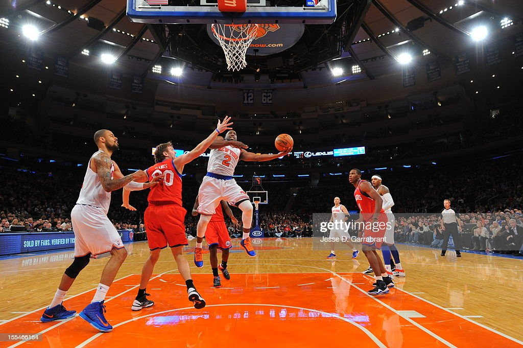 Raymond Felton #2 of the New York Knicks drives to the basket vs the Philadelphia 76ers on November 4, 2012 at Madison Square Garden in New York City.