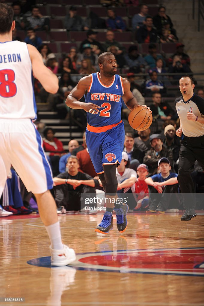 Raymond Felton #2 of the New York Knicks drives up court during the game between the Detroit Pistons and the Atlanta Hawks on March 6, 2013 at The Palace of Auburn Hills in Auburn Hills, Michigan.