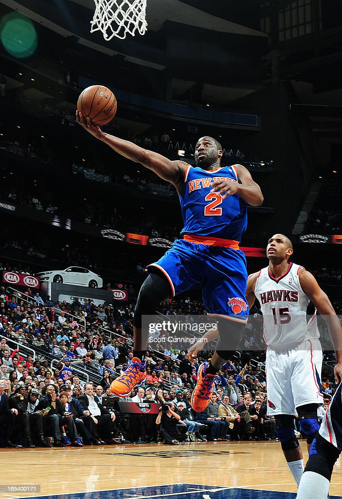 Raymond Felton #2 of the New York Knicks glides to the basket against the Atlanta Hawks on April 3, 2013 at Philips Arena in Atlanta, Georgia.