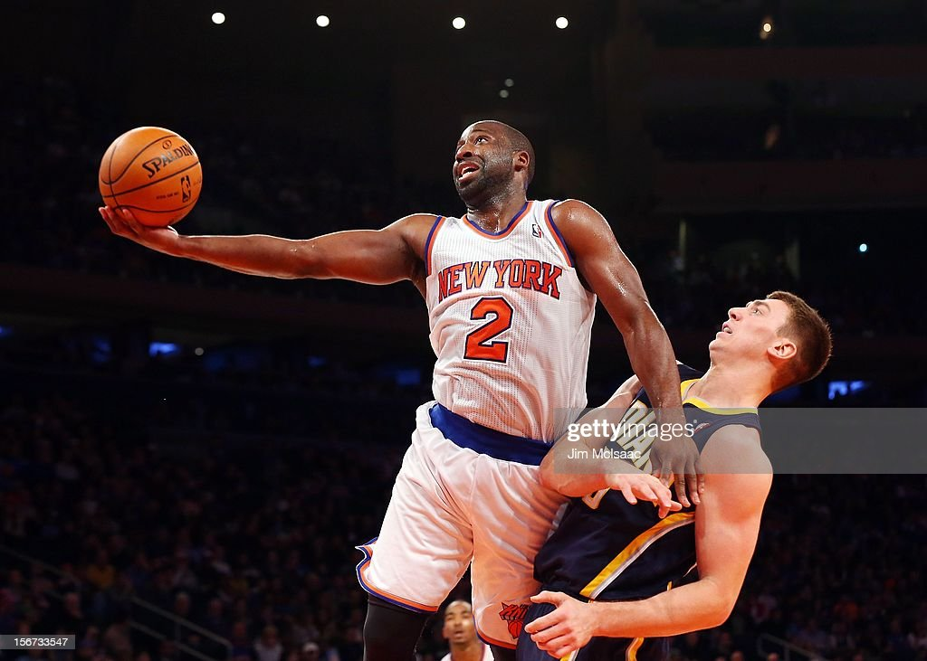 Raymond Felton #2 of the New York Knicks goes to the hoop against Tyler Hansbrough #50 of the Indiana Pacers at Madison Square Garden on November 18, 2012 in New York City. The Knicks defeated the Pacers 88-76.