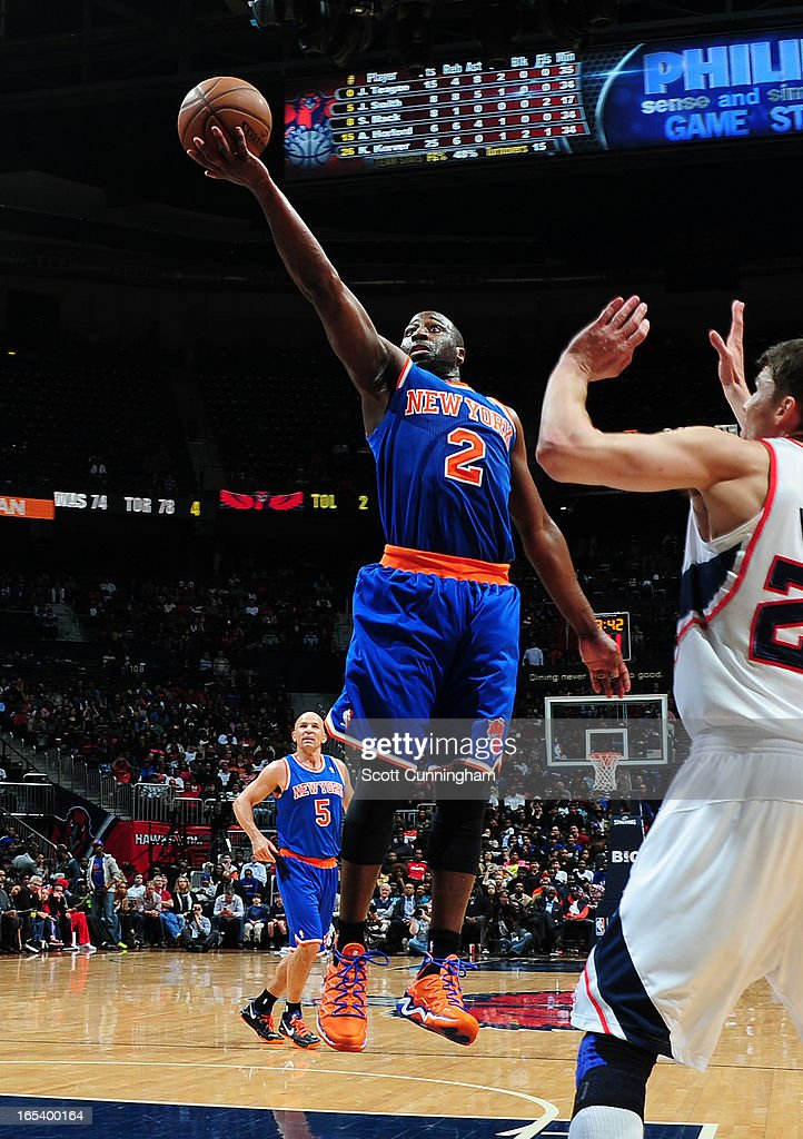 Raymond Felton #2 of the New York Knicks goes up for the layup against the Atlanta Hawks on April 3, 2013 at Philips Arena in Atlanta, Georgia.