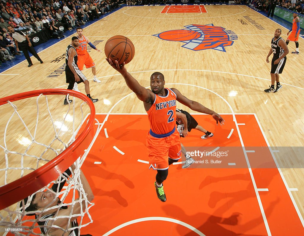 <a gi-track='captionPersonalityLinkClicked' href=/galleries/search?phrase=Raymond+Felton&family=editorial&specificpeople=209141 ng-click='$event.stopPropagation()'>Raymond Felton</a> #2 of the New York Knicks goes up to shoot during a game against the San Antonio Spurs at the newly transformed Madison Square Garden in New York City on November 10, 2013.
