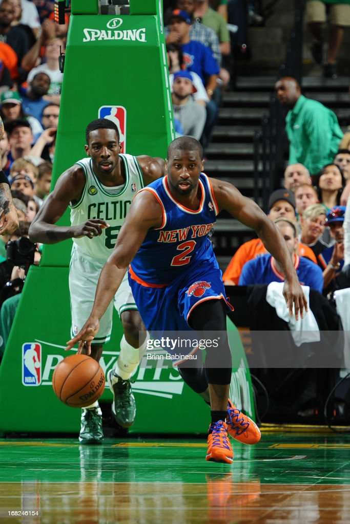 Raymond Felton #2 of the New York Knicks handles the ball against the Boston Celtics during Game Four of the Eastern Conference Quarterfinals on April 28, 2013 at the TD Garden in Boston, Massachusetts.