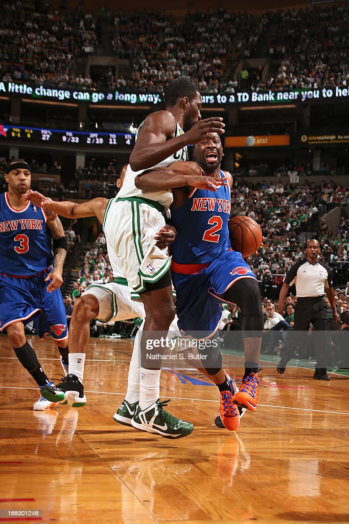 <a gi-track='captionPersonalityLinkClicked' href=/galleries/search?phrase=Raymond+Felton&family=editorial&specificpeople=209141 ng-click='$event.stopPropagation()'>Raymond Felton</a> #2 of the New York Knicks handles the ball against the Boston Celtics in Game Four of the Eastern Conference Quarterfinals during the 2013 NBA Playoffs on April 28, 2013 at the TD Garden in Boston.