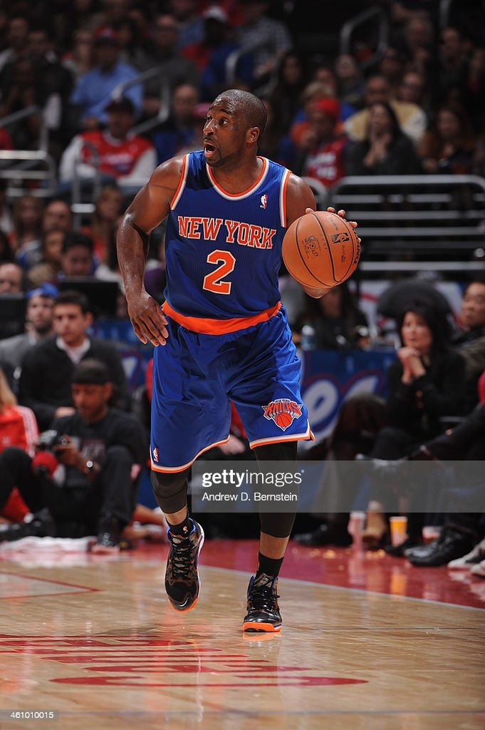 <a gi-track='captionPersonalityLinkClicked' href=/galleries/search?phrase=Raymond+Felton&family=editorial&specificpeople=209141 ng-click='$event.stopPropagation()'>Raymond Felton</a> #2 of the New York Knicks handles the ball in a game against the Los Angeles Clippers at Staples Center on November 27, 2013 in Los Angeles, California.