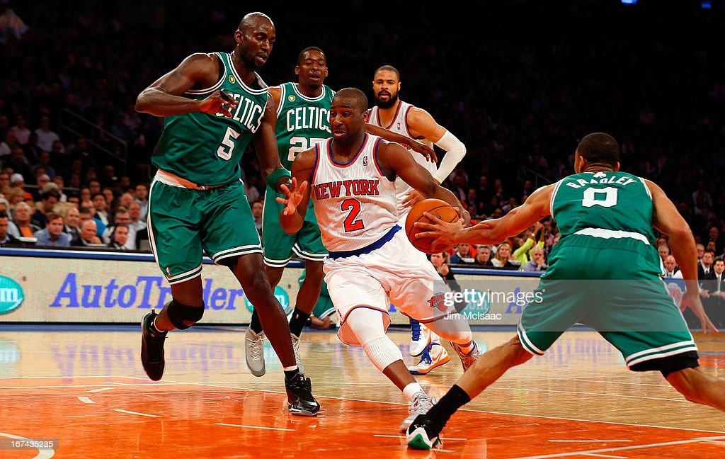 Raymond Felton #2 of the New York Knicks in action against Kevin Garnett #5 and Jeff Green #8 of the Boston Celtics during Game Two of the Eastern Conference Quarterfinals of the 2013 NBA Playoffs on April 23, 2013 at Madison Square Garden in New York City. The Knicks defeated the Celtics 87-71.