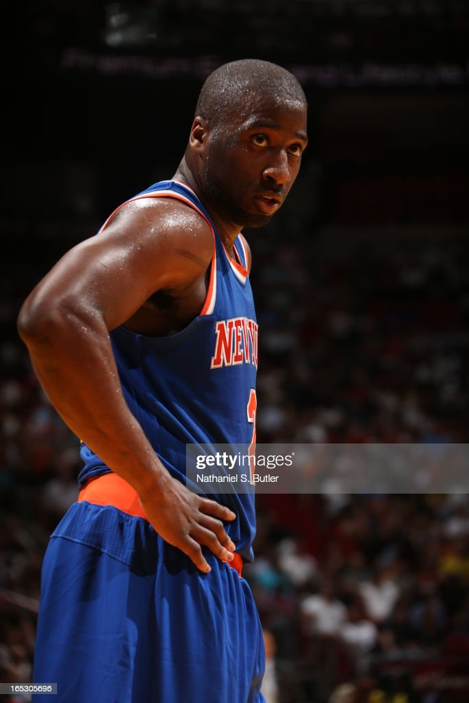 Raymond Felton #2 of the New York Knicks looks on against the Miami Heat during a game on April 2, 2013 at American Airlines Arena in Miami, Florida.