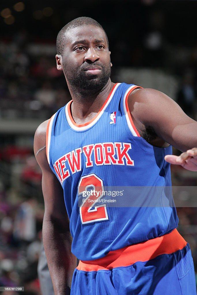 Raymond Felton #2 of the New York Knicks looks on during the game between the Detroit Pistons and the Atlanta Hawks on March 6, 2013 at The Palace of Auburn Hills in Auburn Hills, Michigan.