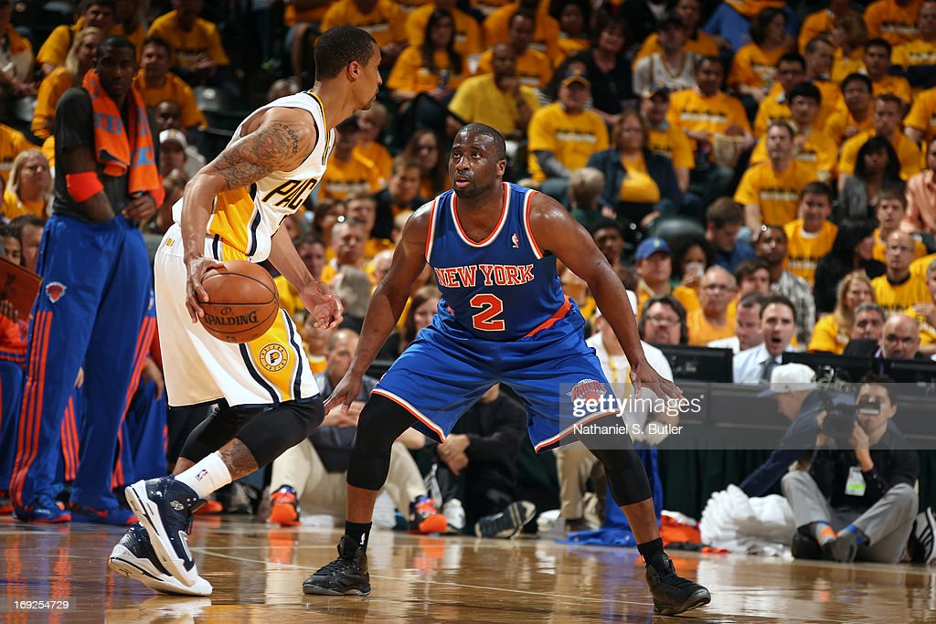 <a gi-track='captionPersonalityLinkClicked' href=/galleries/search?phrase=Raymond+Felton&family=editorial&specificpeople=209141 ng-click='$event.stopPropagation()'>Raymond Felton</a> #2 of the New York Knicks plays defense against the Indiana Pacers in Game Three of the Eastern Conference Semifinals during the 2013 NBA Playoffs on May 11, 2013 at the Bankers Life Fieldhouse in Indianapolis.