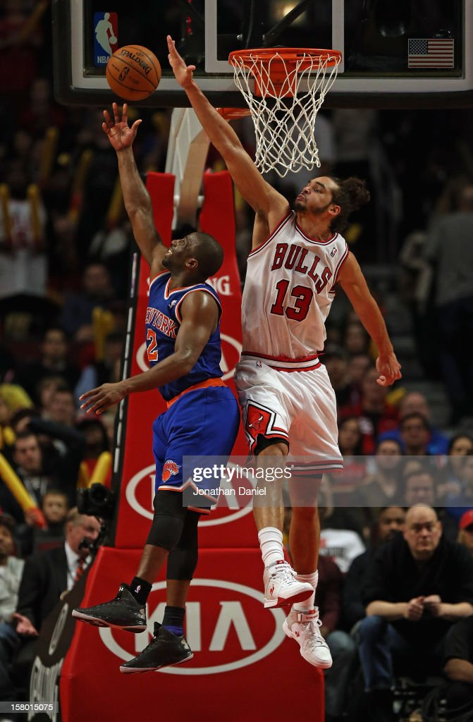 Raymond Felton #2 of the New York Knicks puts up a shot against Joakim Noah #13 of the Chicago Bulls on his way to a game-high 27 points at the United Center on December 8, 2012 in Chicago, Illinois. The Bulls defeated the Knicks 93-85.