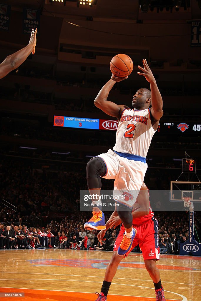 Raymond Felton #2 of the New York Knicks puts up a shot against the Washington Wizards on November 30 2012 at Madison Square Garden in New York City.