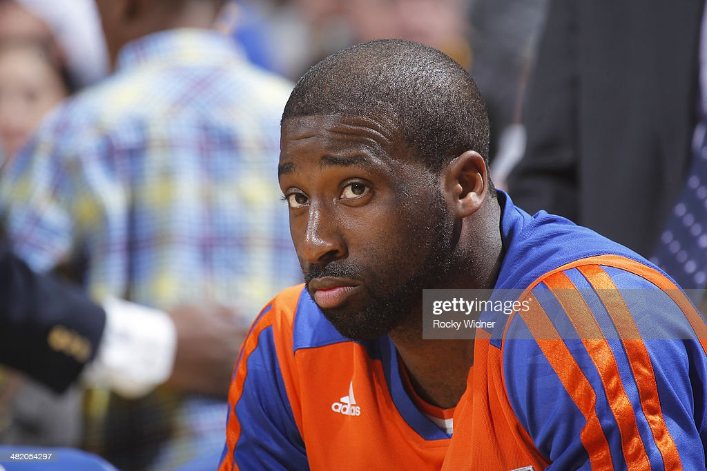 <a gi-track='captionPersonalityLinkClicked' href=/galleries/search?phrase=Raymond+Felton&family=editorial&specificpeople=209141 ng-click='$event.stopPropagation()'>Raymond Felton</a> #2 of the New York Knicks rests on the bench during the game against the Golden State Warriors on March 30, 2014 at Oracle Arena in Oakland, California.