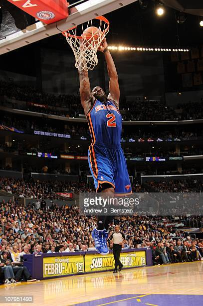 Raymond Felton of the New York Knicks rises for a dunk during a game against the Los Angeles Lakers at Staples Center on January 9 2011 in Los...