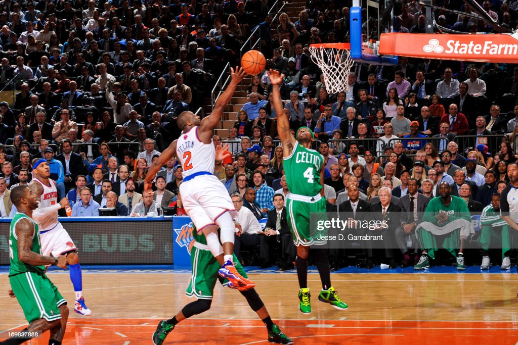 Raymond Felton #2 of the New York Knicks shoots a layup against Jason Terry #4 of the Boston Celtics in Game Five of the Eastern Conference Quarterfinals during the 2013 NBA Playoffs on May 1, 2013 at Madison Square Garden in New York City