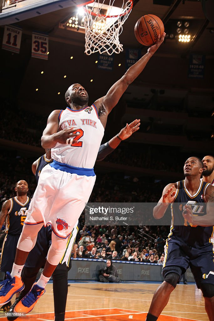 <a gi-track='captionPersonalityLinkClicked' href=/galleries/search?phrase=Raymond+Felton&family=editorial&specificpeople=209141 ng-click='$event.stopPropagation()'>Raymond Felton</a> #2 of the New York Knicks shoots a layup against the Utah Jazz on March 9, 2013 at Madison Square Garden in New York City.