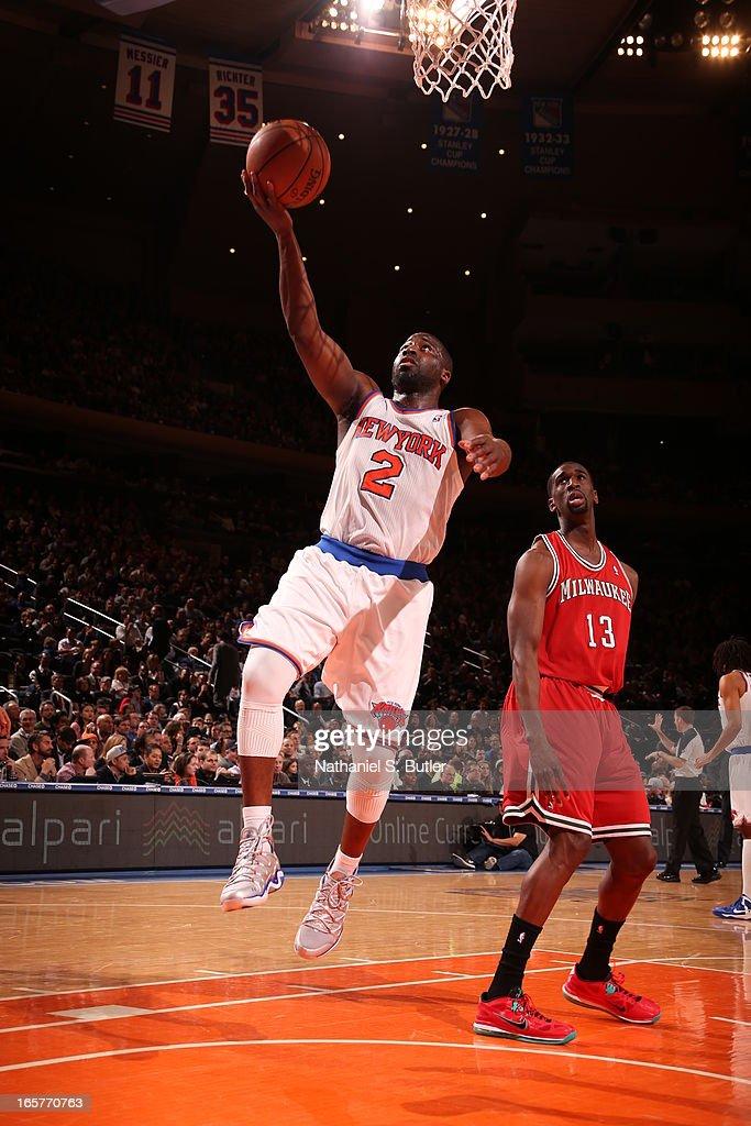 Raymond Felton #2 of the New York Knicks shoots against Ekpe Udoh #13 of the Milwaukee Bucks on April 5, 2013 at Madison Square Garden in New York City.