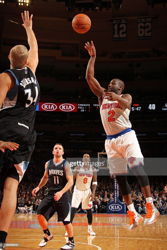 Raymond Felton #2 of the New York Knicks shoots against Greg Stiemsma #34 of the Minnesota Timberwolves on December 23, 2012 at Madison Square Garden in New York City.