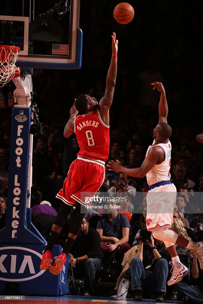 Raymond Felton #2 of the New York Knicks shoots against Larry Sanders #8 of the Milwaukee Bucks on April 5, 2013 at Madison Square Garden in New York City.