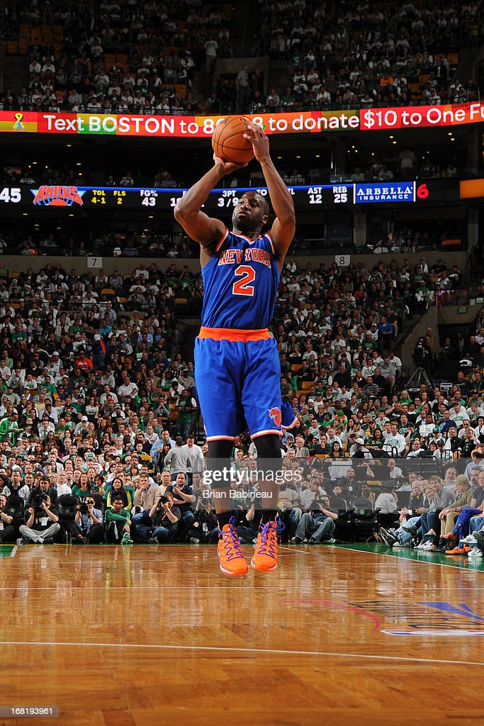 <a gi-track='captionPersonalityLinkClicked' href=/galleries/search?phrase=Raymond+Felton&family=editorial&specificpeople=209141 ng-click='$event.stopPropagation()'>Raymond Felton</a> #2 of the New York Knicks shoots against the Boston Celtics in Game Six of the Eastern Conference Quarterfinals during the NBA Playoffs on May 3, 2013 at the TD Garden in Boston, Massachusetts.