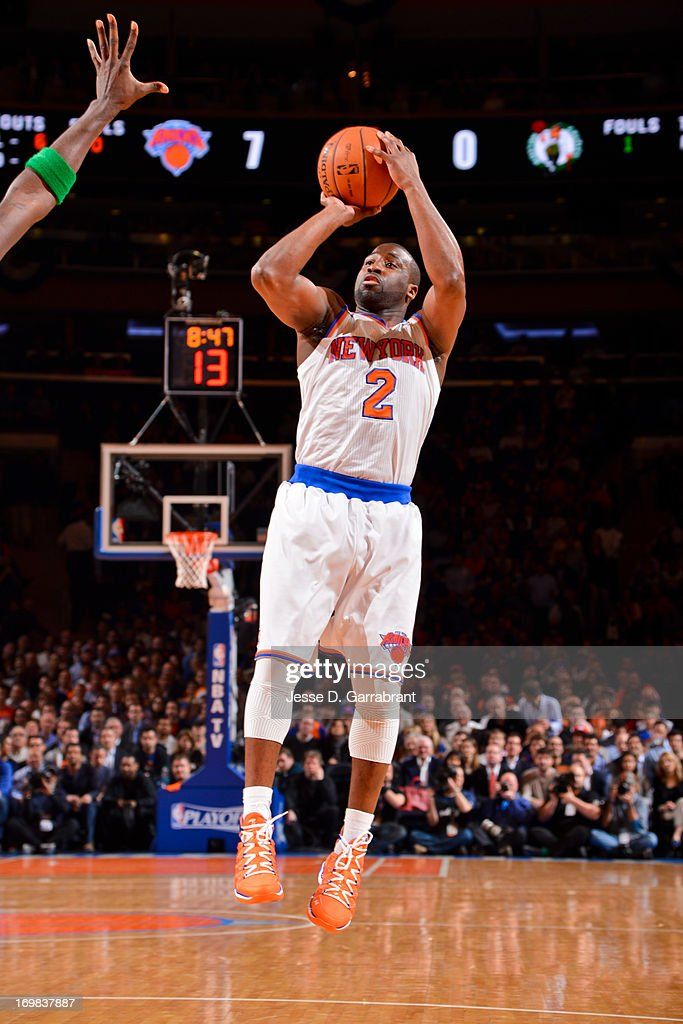 <a gi-track='captionPersonalityLinkClicked' href=/galleries/search?phrase=Raymond+Felton&family=editorial&specificpeople=209141 ng-click='$event.stopPropagation()'>Raymond Felton</a> #2 of the New York Knicks shoots against the Boston Celtics in Game Five of the Eastern Conference Quarterfinals during the 2013 NBA Playoffs on May 1, 2013 at Madison Square Garden in New York City