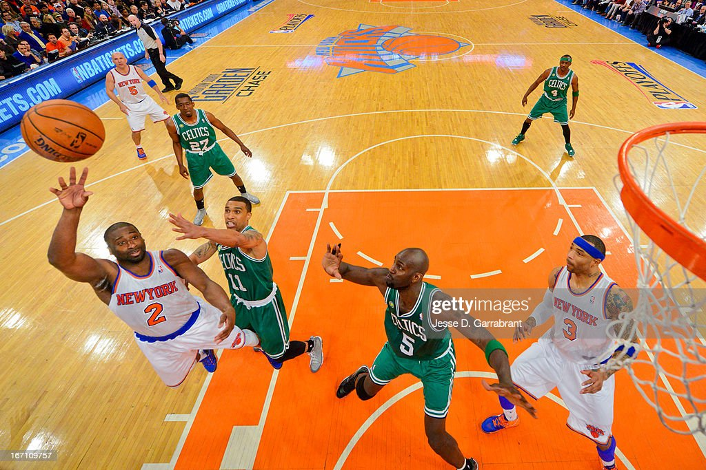 Raymond Felton #2 of the New York Knicks shoots in the lane against Courtney Lee #11 of the Boston Celtics in Game One of the Eastern Conference Quarterfinals during the 2013 NBA Playoffs on April 20, 2013 at Madison Square Garden in New York City, New York.