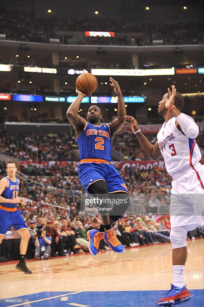 Raymond Felton #2 of the New York Knicks shoots the ball during the game between the Los Angeles Clippers and the New York Knicks at Staples Center on March 17, 2013 in Los Angeles, California.