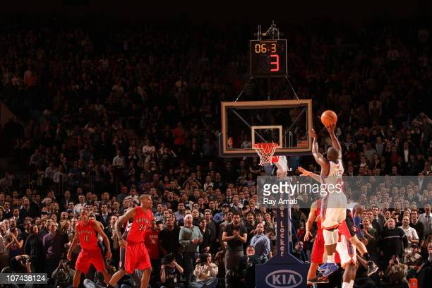 Raymond Felton of the New York Knicks shoots the game winning three point shot against the Toronto Raptors during a game on December 8 2010 at...
