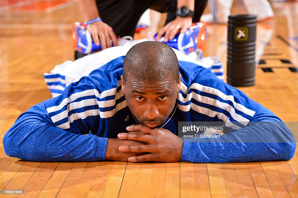 Raymond Felton #2 of the New York Knicks stretches before playing against the Boston Celtics in Game Five of the Eastern Conference Quarterfinals during the 2013 NBA Playoffs on May 1, 2013 at Madison Square Garden in New York City