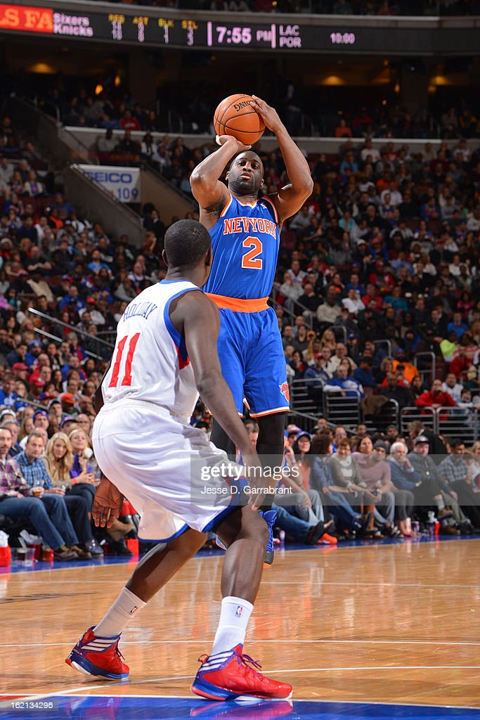 <a gi-track='captionPersonalityLinkClicked' href=/galleries/search?phrase=Raymond+Felton&family=editorial&specificpeople=209141 ng-click='$event.stopPropagation()'>Raymond Felton</a> #2 of the New York Knicks takes a shot against the Philadelphia 76ers at the Wells Fargo Center on January 26, 2013 in Philadelphia, Pennsylvania.