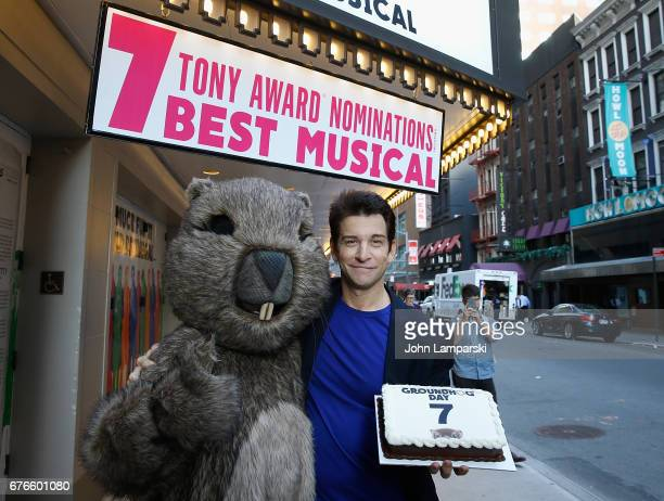 Raymond J Lee in costume and Andy Karl attend Broadway's 'Groundhog Day' celebrating 2017 Tony Award Nominations at August Wilson Theatre on May 2...