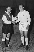 Raymond Kopa of Stade de Reims greets Alfredo Di Stéfano of Real Madrid before the European Cup Final at Parc des Princes Paris 13th June 1956 Real...