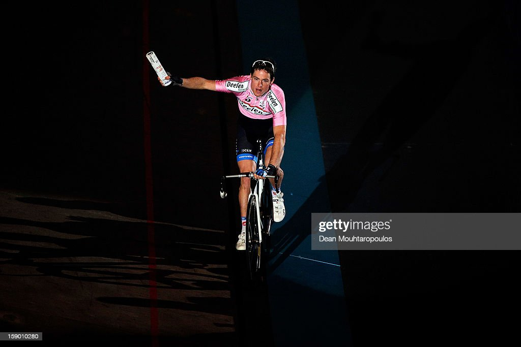 Raymond Kreder of Netherlands celebrate his win during the Rotterdam 6 Day Cycling at Ahoy Rotterdam on January 5, 2013 in Rotterdam, Netherlands.