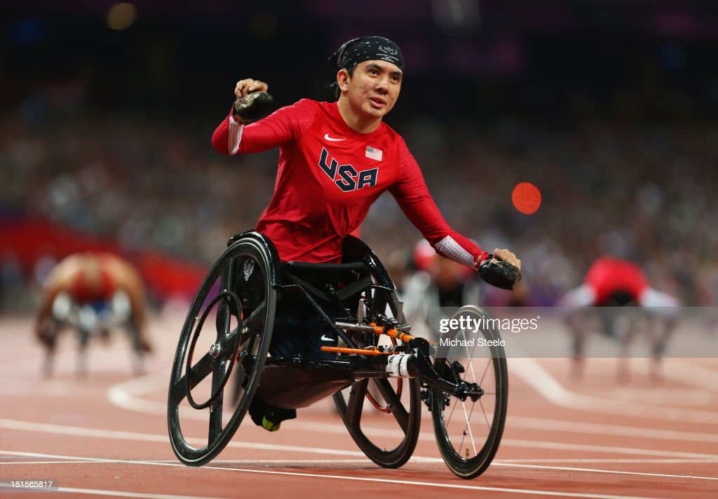 Raymond Martin of the United States celebrates as he wins gold in the Men's 200m T52 Final on day 10 of the London 2012 Paralympic Games at Olympic...