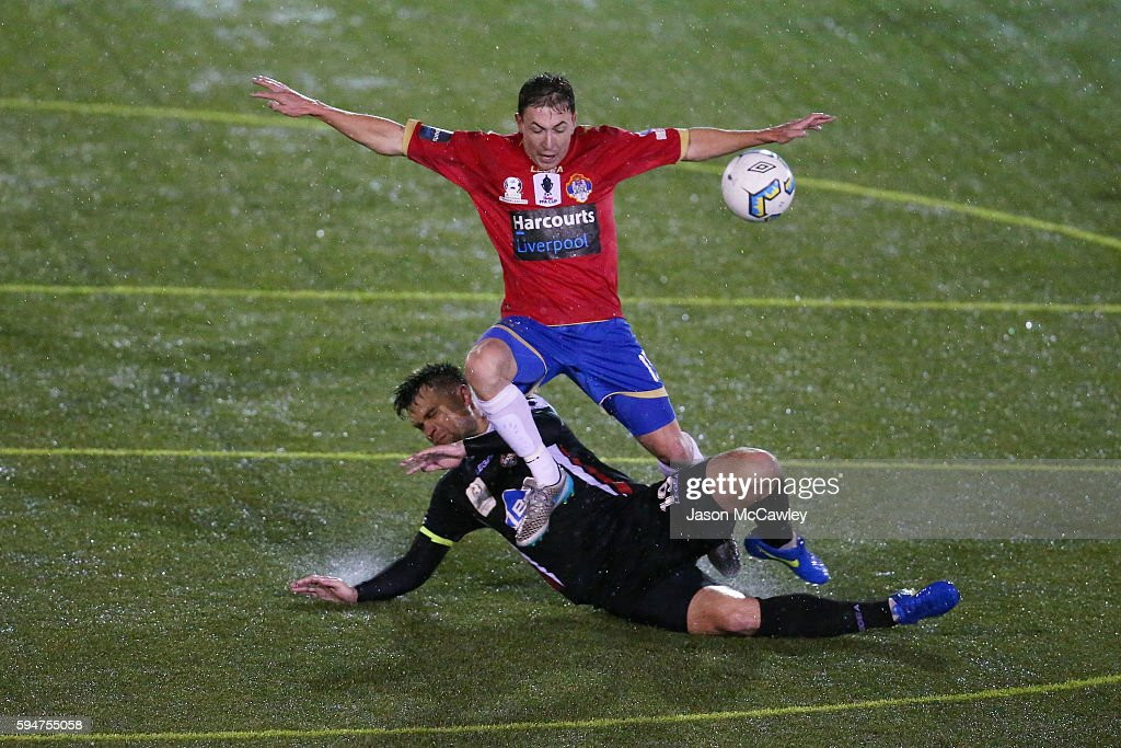 Raymond Miller of Bonnyrigg is challenged during the round 16 FFA Cup match between Blacktown City and Bonnyrigg White Eagles at Lilys Football...