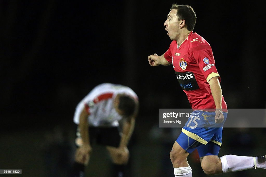 Raymond Miller of the White Eagles celebrates his goal during the men's National Premier League match between Bonnrigg and Rockdale at Bonnyrigg Sports Club on May 28, 2016 in Sydney, Australia.