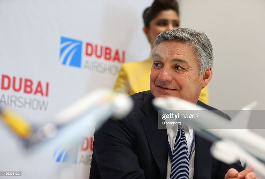 Raymond 'Ray' Conner, chief executive officer of Boeing Commercial Airplane Group, pauses during a news conference on the second day of the 14th Dubai Air Show at Dubai World Central (DWC) in Dubai, United Arab Emirates, on Monday, Nov. 9, 2015. The Dubai Air Show is the biggest aerospace event in the Middle East, Asia and Africa and runs Nov. 8 - 12. Photographer: Jasper Juinen/Bloomberg via Getty Images