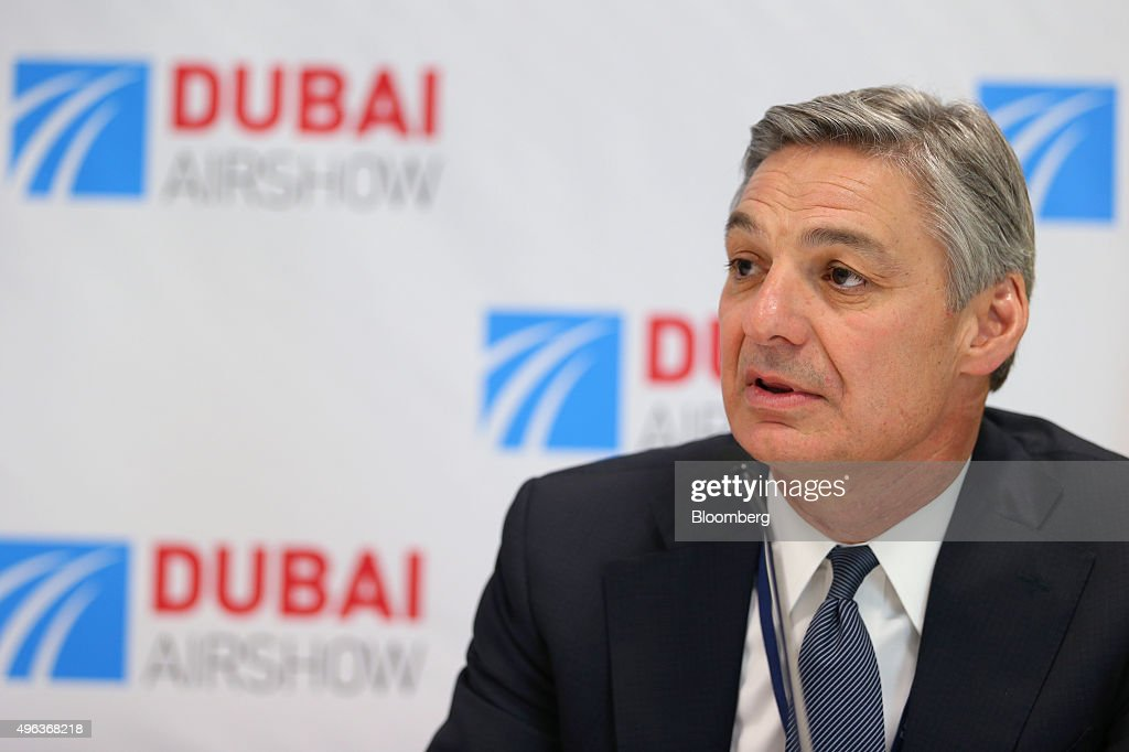 Raymond 'Ray' Conner, chief executive officer of Boeing Commercial Airplane Group, speaks during a news conference on the second day of the 14th Dubai Air Show at Dubai World Central (DWC) in Dubai, United Arab Emirates, on Monday, Nov. 9, 2015. The Dubai Air Show is the biggest aerospace event in the Middle East, Asia and Africa and runs Nov. 8 - 12. Photographer: Jasper Juinen/Bloomberg via Getty Images