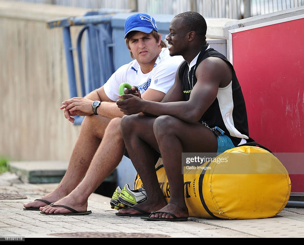 Raymond Rhule and Boom Prinsloo during the Toyota Cheetahs training session at Free State Stadium on February 12, 2013 in Bloemfontein, South Africa.