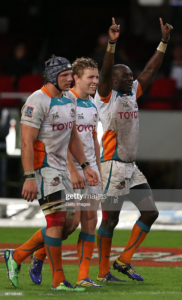 Raymond Rhule celebrates his try during the Super Rugby match between The Sharks and Toyota Cheetahs from Kings Park on April 20, 2013 in Durban, South Africa.