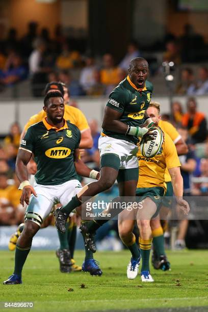 Raymond Rhule of South Africa catches the ball during The Rugby Championship match between the Australian Wallabies and the South Africa Springboks...
