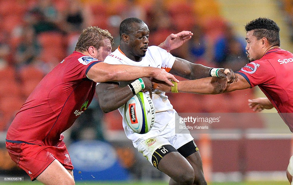 Raymond Rhule of the Cheetahs drops the ball as he attempts to break through the defence during the round 10 Super Rugby match between the Reds and the Cheetahs at Suncorp Stadium on April 30, 2016 in Brisbane, Australia.