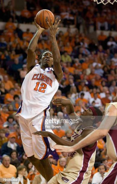 Raymond Sykes of the Clemson Tigers goes up for a jump shot against the Boston College Eagles at Littlejohn Coliseum February 2 2008 in Clemson South...