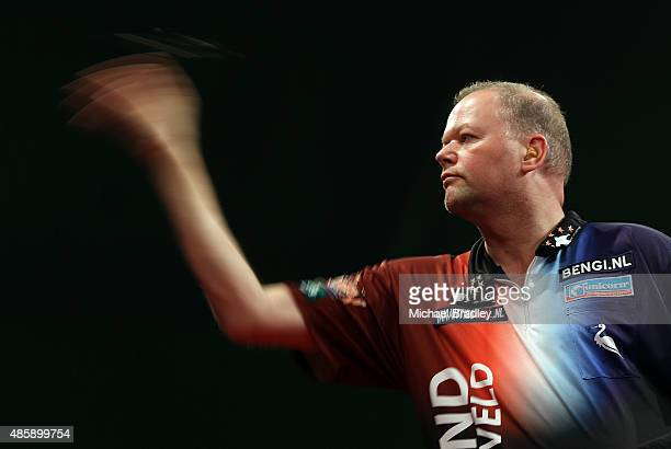 Raymond van Barneveld in action during the Auckland Darts Masters at The Trusts Arena on August 30 2015 in Auckland New Zealand