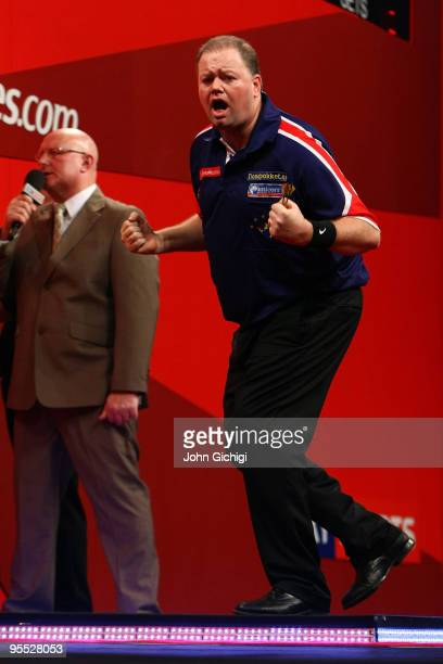 Raymond Van Barneveld of Netherlands shows his delight during the game against Simon Whitlock of Australia in the Semi Finals of the 2010...