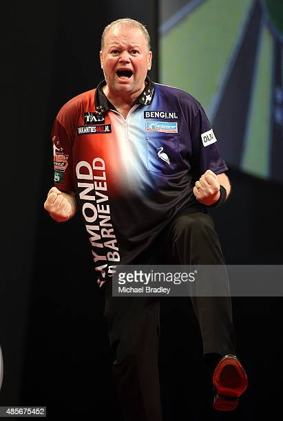 Raymond van Barneveld reacts during the Auckland Darts Masters at The Trusts Arena on August 29 2015 in Auckland New Zealand
